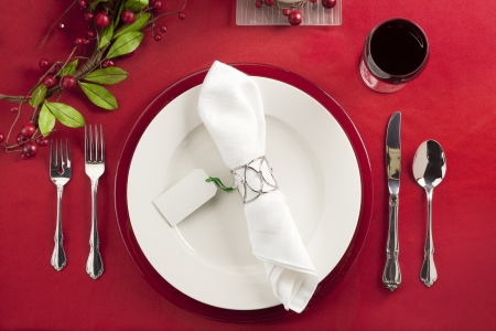 Image of christmas dinner setting top view photo
