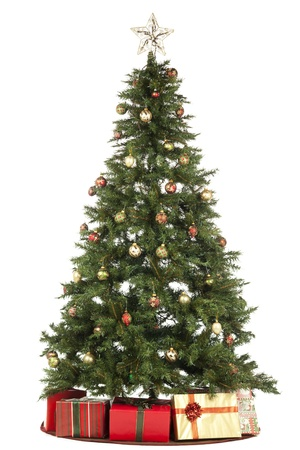 fake christmas tree: Christmas tree and Gifts over the white background