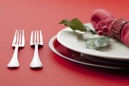 Close-up shot of table setting with fork, plate, berries and napkin photo