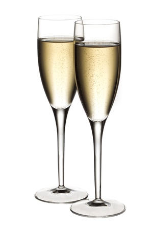 muscadet: Image of full view of two glasses of white wine isolated on white background
