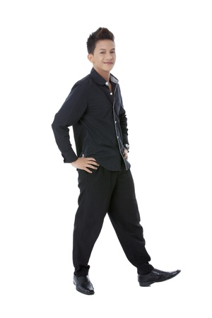 pinoy: Portrait of handsome asian man with hand on hips in a full length image Stock Photo