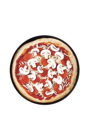 Overhead view of a pepperoni pizza with mushroom topping. Stock Photo - 16984007