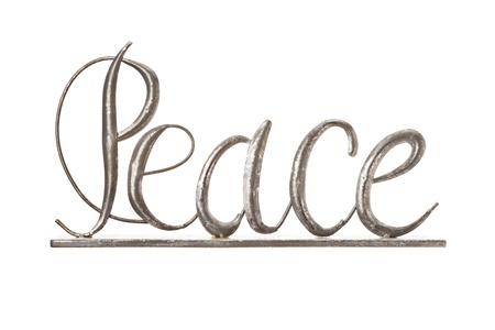 Image of a metallic wire forming peace sign on a white background
