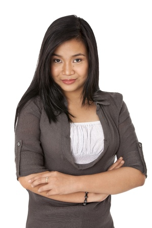 Portrait front view image of a attractive young female with arms crossed. Model: Rachelle Vinluan Stock Photo - 17050426