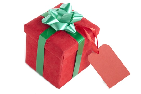 heap: Image of red gift box isolated on white background Stock Photo