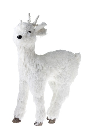 Vintage Flocked White Christmas Deer Stock Photo - 16983959
