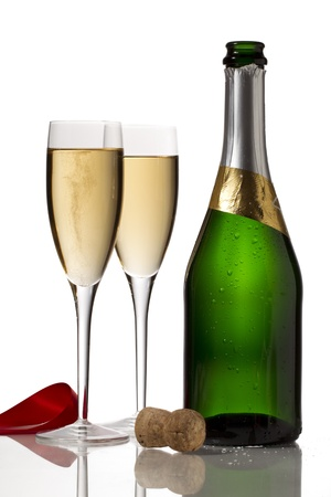 muscadet: Image of white wine isolated on white background Stock Photo