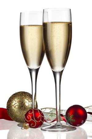 aligote: Image of white wine with christmas decor isolated on white background