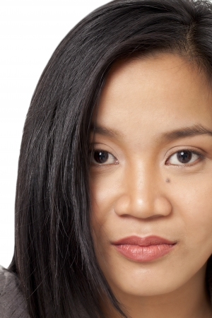 pinay: Woman face on a white background