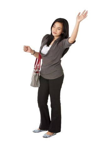 Portrait of woman waving her isolated on white background photo
