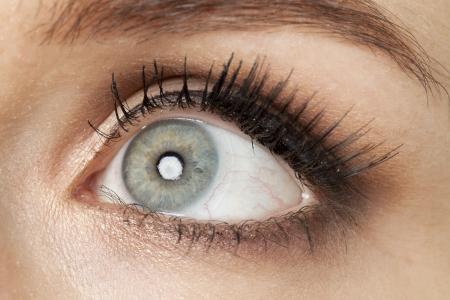クローズの灰色の目に女性のイメージ アップ