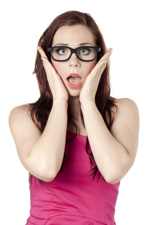 Portrait image of a surprised woman with her eyes and mouth open against white  background Stock Photo - 16993183
