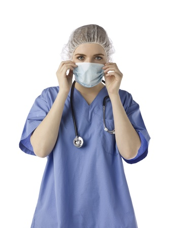 female surgeon: Female surgeon with surgical mask, stethoscope and Surgeon Caps