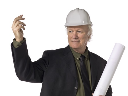 Close-up image of a waving old architect holding plans over the white surface photo