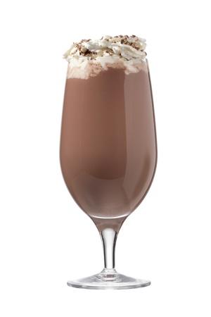 Delicioso vaso de bebida de chocolate con crema batida en la parte superior Foto de archivo - 16995270