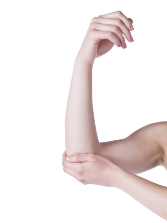 Close up image of elbow pain against white background Stock Photo - 16995266