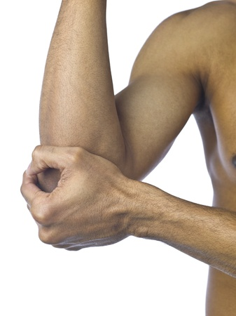 affliction: Close up image of guy suffering elbow pain against white background