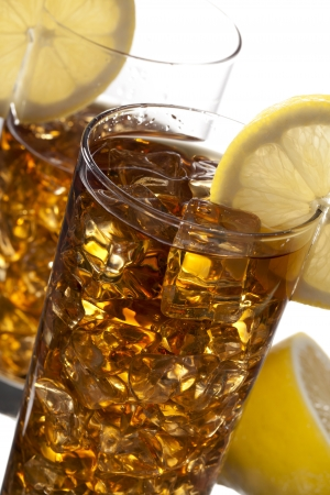 Two Glass of Lemon Iced Tea on a cropped and macro image photo