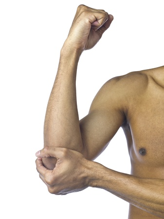 Close up image of man suffering elbow pain against white background Stock Photo - 16995490