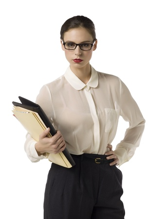Closed up portrait of strict teacher carrying folders and class book Stock Photo - 16993138
