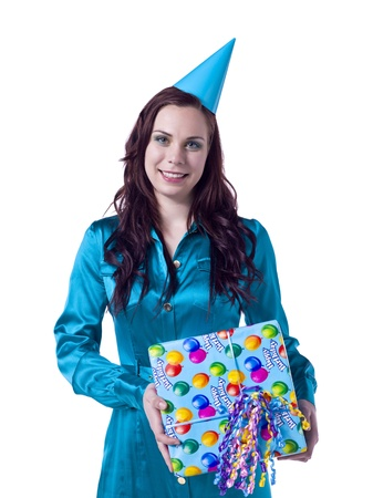 Portrait of a happy woman with party hat and gift celebrating her birthday isolated on a white background Stock Photo - 16993167