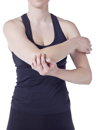 Image of woman holding her elbow against white background Stock Photo - 16995434