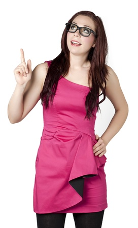 A pretty woman looking above and pointing her finger Stock Photo - 16993176