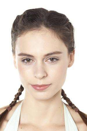 trenzas en el cabello: Cerrado Retrato de una mujer sonriente con el pelo trenzado