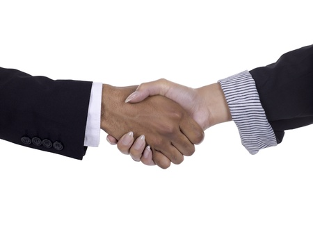 Image of business handshake against white background Stock Photo - 16998982