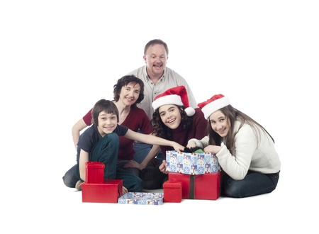 Image of a happy family exchanging gifts on Christmas season Stock Photo - 17071090