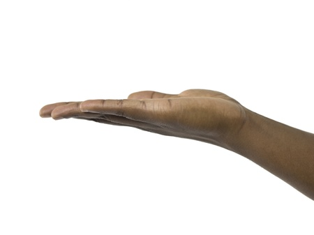 Close-up image of a begging hand of a person against the white surface Stock Photo - 16996078