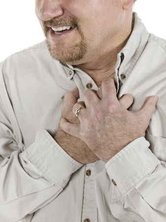 Chest pain sign of old man in a close-up image
