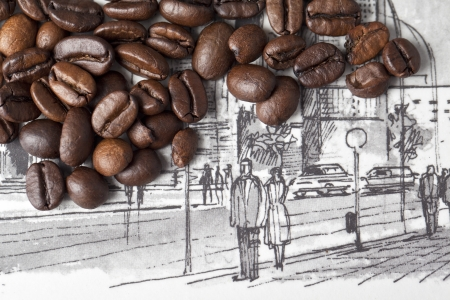 caffeine molecule: Close up image of coffee beans over a drawing Stock Photo