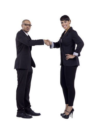Full length image of handshaking businessman and woman Stock Photo - 17083463