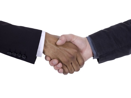 Handshaking businesspeople to show their agreement Stock Photo - 16996496