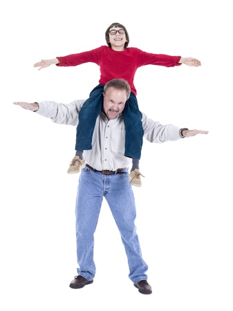 hoists: Image of happy aged man with a boy against white background Stock Photo