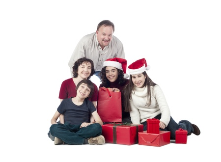 Portrait of happy family on the floor with Christmas gifts Stock Photo - 17050882