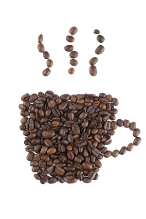 caffeine molecule: Hot coffee image made of coffee beans against white background