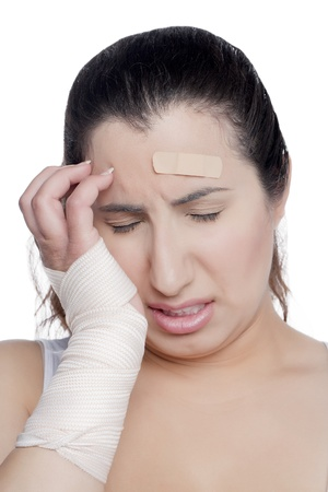 Closed up portrait of an injured female crying in agony Stock Photo - 17071075