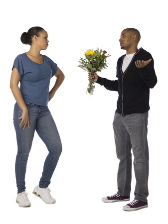 Black man pleasing his girlfriend by giving her a bouquet of flowers Stock Photo - 17083919