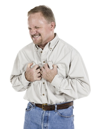 Image of an old man having a chest pain against white background Stock Photo - 16993043
