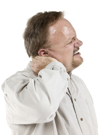 old man on a physical pressure: Old man suffering from neck pain on a white background