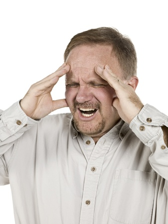 Portrait image of an old man having a headache isolated on photo