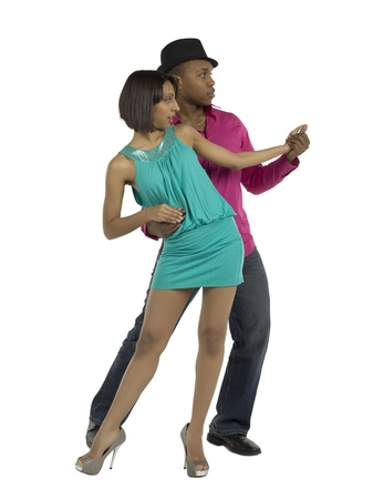 Dancing couple performing their routine Stock Photo