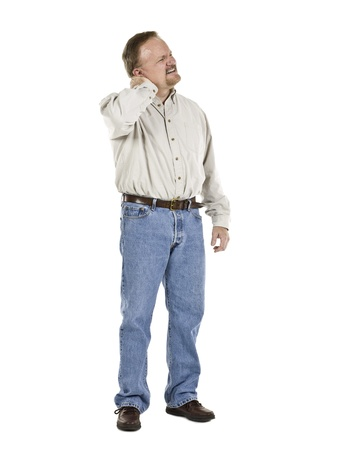 old man on a physical pressure: Portrait image of a senior man having a neck pain against white background Stock Photo