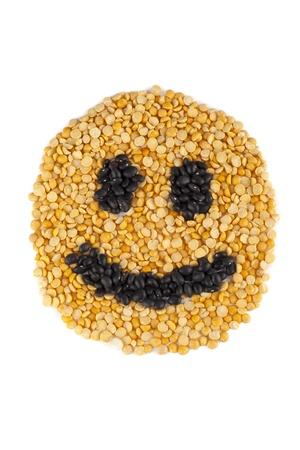 Smile face made of beans on white background Stock Photo - 16999003