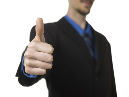 Selective focus image of a businessman showing a thumbs up Stock Photo - 16997715