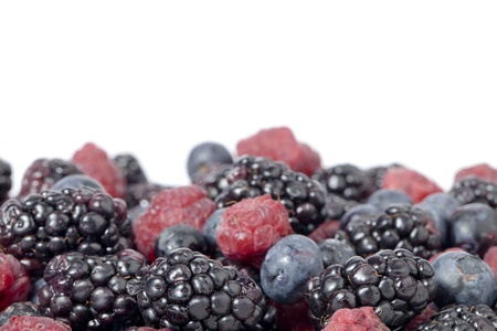 caneberries: Blackberry, blueberry and raspberry in abundance on white background