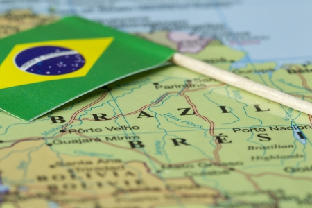 Close up image of a Brazil man and there flag photo