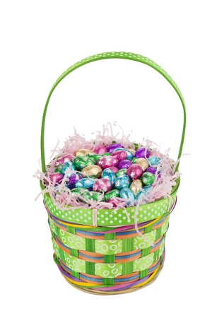 Facade shot of a green basket with colorful chocolate eggs inside isolated in a white background